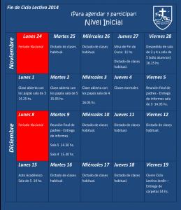 Calendario Fin de Ciclo 2014